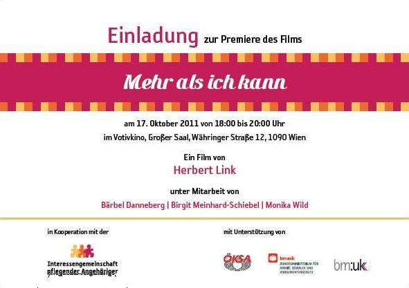 """einladung zur premiere: """"mehr als ich kann"""" : ig-pflege, Einladung"""